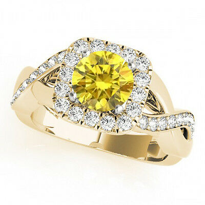 1.04 Ct Canary Round VS Diamond Solitaire Wedding Ring 14k Yellow Gold Classy • 774.73£