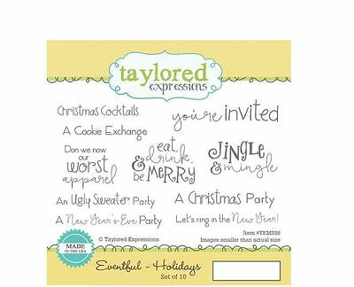 Taylored Expressions Rubber Cling Stamp Set ~ EVENTFUL ~ HOLIDAYS Party  ~TEMD98 • 16.19$