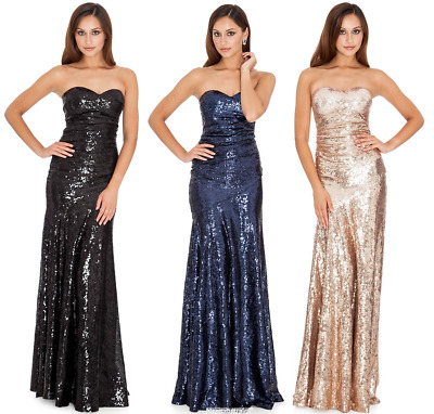 £39.99 • Buy Goddiva Long Sequin Strapless Sweetheart Evening Maxi Party Dress With Straps