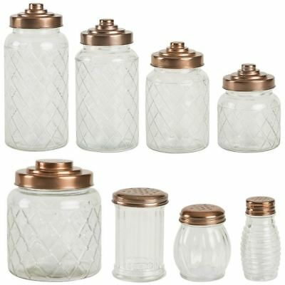 T&G Patterned Glass Storage Jars With Copper Finish Lids In Various Sizes • 9£