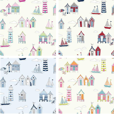 £7.50 • Buy 100% Cotton Fabric Lifestyle Beach Huts Lighthouses Sailing Boats 140cm Wide