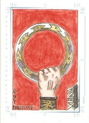 Xena Art&Images Steven Miller Sketch Card  Fist In Chakram Color Hand Drawn~RARE • 41.10£