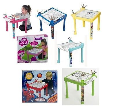 Kids Colouring Drawing Table Desk Paper Crayons Children Furniture Disney New • 15.99£