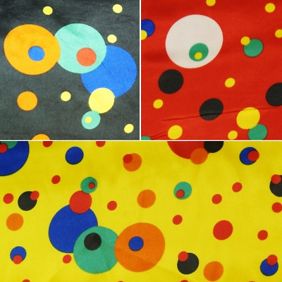 Silky Satin Fabric Crazy Spots In Funky Circles 150cm Wide Clown Party • 2.95£