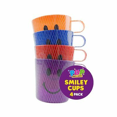 4 X Smiley Face Cups Childrens Kids Plastic Party Garden Beach Mugs  • 3.99£