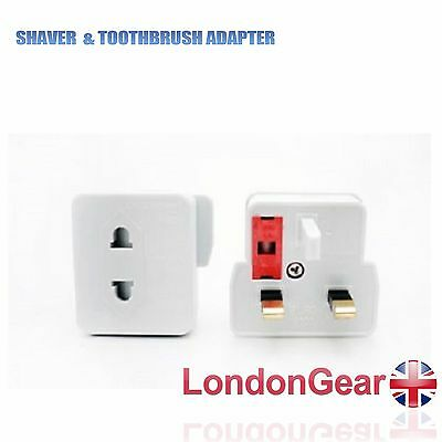 Euro 2 Pin To UK 3 Pin Mains Shaver Adaptor Converter Fitted Fused Plug  • 2.99£