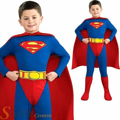 Boys Classic Superman Costume Licensed Child Kids Super Hero Fancy Dress Outfit • 18.48£