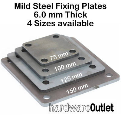 MILD STEEL Square FIXING PLATE 75, 100, 125 & 150 Mm  Laser Cut 4 Holes   • 6.99£