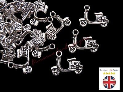 10 Pcs -  Tibetan Silver Motorcycle Bike Moped Charms Pendant Craft I175 • 1.59£