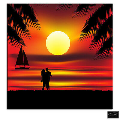 £34.99 • Buy Sunset Beach Tropical Illustration BOX FRAMED CANVAS ART Picture HDR 280gsm