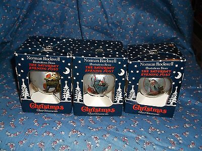 $ CDN15.82 • Buy 3 Christmas Ornaments Norman Rockwell Sat Evening Post Each Different 3 1/4  Hig