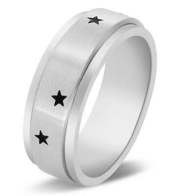$7.99 • Buy Star Spinner Ring Brushed Polish Stainless Steel Band Comfort Fit 8mm
