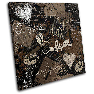 £19.99 • Buy Coffee Grunge Typography SINGLE CANVAS WALL ART Picture Print