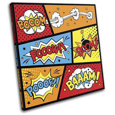 Comic Book Typography Vintage SINGLE CANVAS WALL ART Picture Print • 19.99£