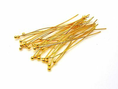 £1.95 • Buy 100 Pcs - 35mm Gold Plated Ball Head Pins Jewellery Craft Findings Beading J52