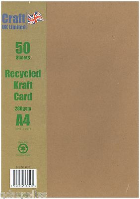 £7.65 • Buy 50 Sheets A4 Kraft Card Recycled Brown Acid Free 280gsm Quality Craft Stock 2042