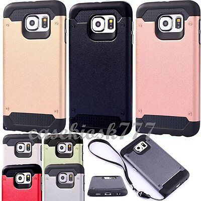 $ CDN9.31 • Buy For Samsung Galaxy S6 Edge + Plus Case Rugged Hybrid  Strap Holder Black Silver