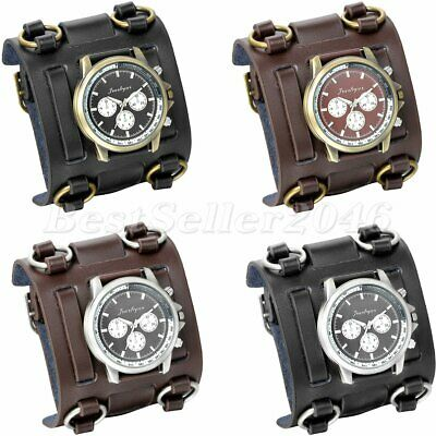 $14.24 • Buy Mens Military Army Style Wide Leather Band Sports Big Face Quartz Wrist Watch