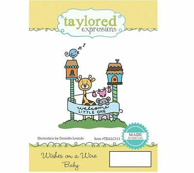 Taylored Expressions Rubber Cling Stamp ~ WISHES ON A WIRE ~ BABY  ~TEALC111 • 10.79$