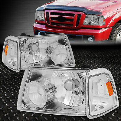 $70.88 • Buy For 01-11 Ford Ranger Chrome Housing Amber Corner Headlight Replacement Headlamp