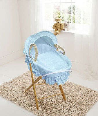 £42.85 • Buy Blue Broderie Anglaise Palm Moses Basket With Folding Stand, Bedding & Mattress