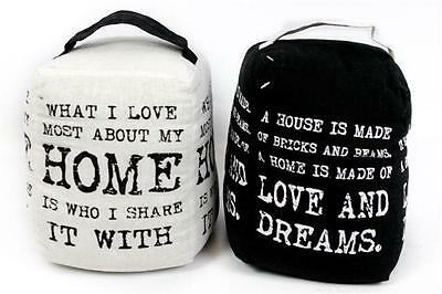 £9.99 • Buy Vintage Quote Design Fabric Door Stop Stopper Black Or White 20cm Pre Filled