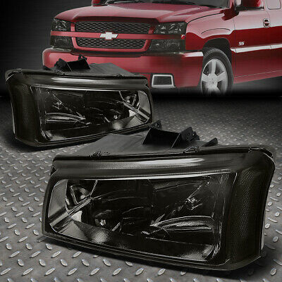 $56.99 • Buy For 03-06 Chevy Silverado Avalanche Smoked Housing Clear Corner Headlight Lamps