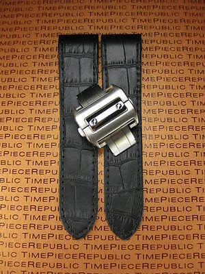 £47.10 • Buy 24.5mm Leather Strap Watch Band Buckle Set For Cartier Santos 100 XL Chronograph
