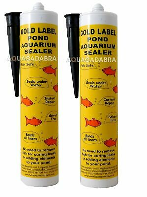 GOLD LABEL 2x BLACK UNDERWATER 290ml LEAK REPAIR GARDEN FISH POND LINER SEALANT • 37.99£