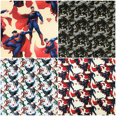 Superman Batman 100% Cotton Fabric Heros DC Comics Marvel Flash Green 140cm Wide • 1.54£