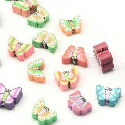 Polymer Clay Butterfly Beads 10 X 12mm Mixed 30 Pcs Art Hobby Jewellery Making • 2.69£