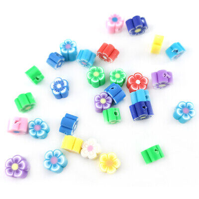 Polymer Clay Flower Beads 4 X 6mm Mixed 30 Pcs Art Hobby Jewellery Making Crafts • 2.59£