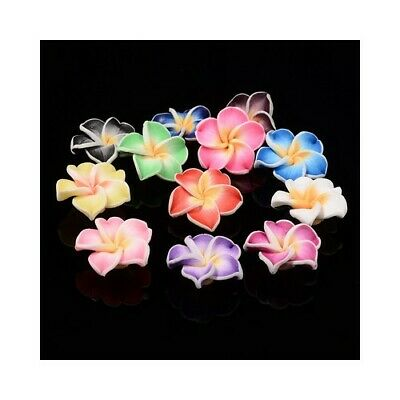 Polymer Clay Flower Beads 10 X 20mm Mixed 10 Pcs Art Hobby DIY Jewellery Making • 2.69£