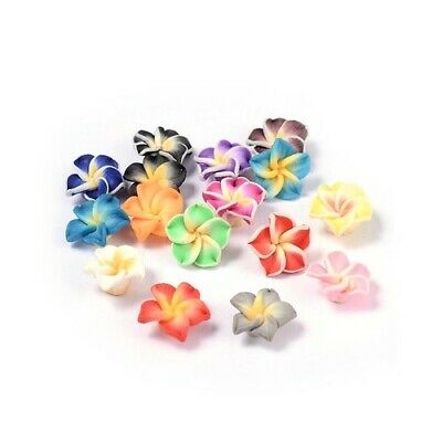 Polymer Clay Flower Beads 8 X 12mm Mixed 10 Pcs Art Hobby DIY Jewellery Making • 2.69£
