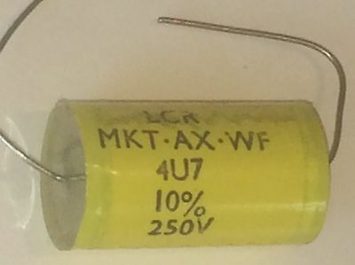 AU8.91 • Buy 4.7uF 250V LCR METALLIZED POLYESTER MKT AXIAL AUDIO CAPACITOR            Ad2r25