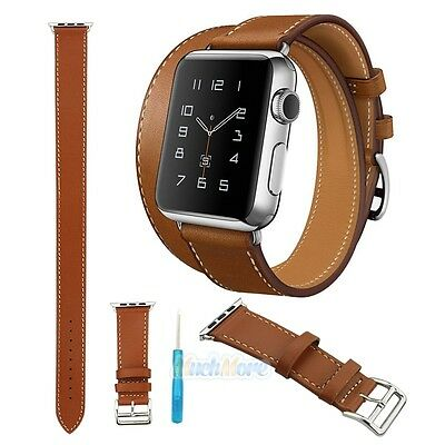 AU12.63 • Buy Genuine Leather Watch Band Double Tour Bracelet Strap For IWatch 38mm/42mm+Tool