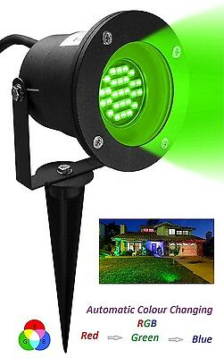 LED RGB Automatic Colour Changing GU10 Outdoor Garden Ground Spike Spot Light • 12.99£