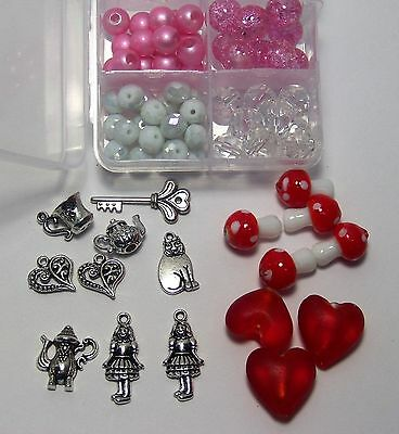 $15 • Buy Alice In Wonderland Glass Beads-charms-jewelry Making Supplies-glass Mushrooms