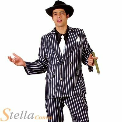 Mens Godfather Gangster Costume 1920s Mafia Boss Adult Fancy Dress Outfit & Hat • 22.95£