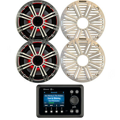 $266.49 • Buy Kenwood Stereo Bluetooth CD Player, 1 Pair Kicker 6.5  LED Marine Boat Speaker
