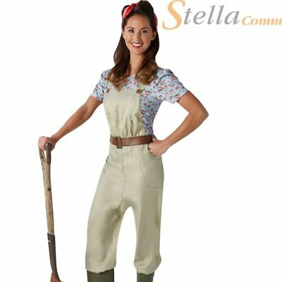 Ladies Land Girl World War Army Outfit WW2 1940s Fancy Dress Costume Dungarees • 20.99£