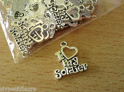 I Love My Soldier Metal Silver Pendants Charms X20 20mm Military Army B207 UK • 2.80£