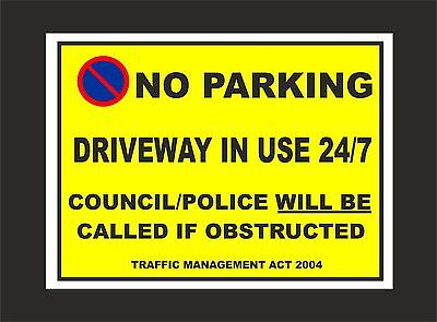 £2.99 • Buy NO PARKING DRIVEWAY IN USE 24/7 COUNCIL/POLICE TRAFFIC ACT Sign Or Sticker