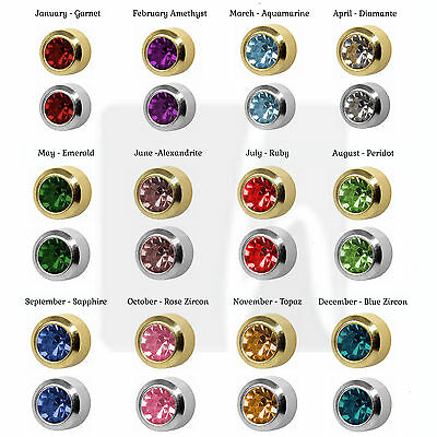 £13.95 • Buy Ear Studs 12 Pairs Assorted Colour Birthstone REG Round STAINLESS STEEL Caflon
