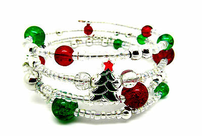 Christmas Tree Memory Wire Bracelet Jewellery Making Kit Instructions K0025L • 3.39£