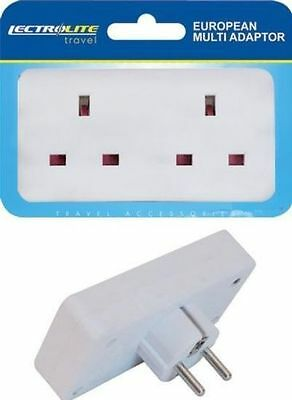 2 Way European Travel Electrical Socket Adaptor Eu 2 Pin To Double UK 3 Pin New • 3.45£