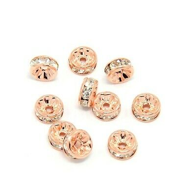 £2.89 • Buy Rose Gold Brass Beads Rondelle Spacer 4 X 8mm Rhinestone Pack Of 10