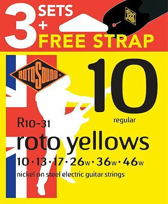 $ CDN23.84 • Buy Rotosound R10 Nickel Plated Electric Guitar Strings X3 Sets FREE Strap 10-46