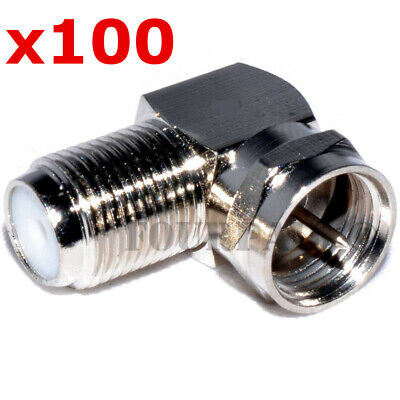 £29.28 • Buy 100 Pack Lot - F Type Right Angle 90 Degree M/F Coax Cable TV Adapter Connector
