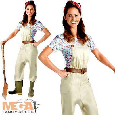 Land Girl 40s Ladies Fancy Dress WW2 Womens Adults 1940s Army Costume Outfit New • 22.99£